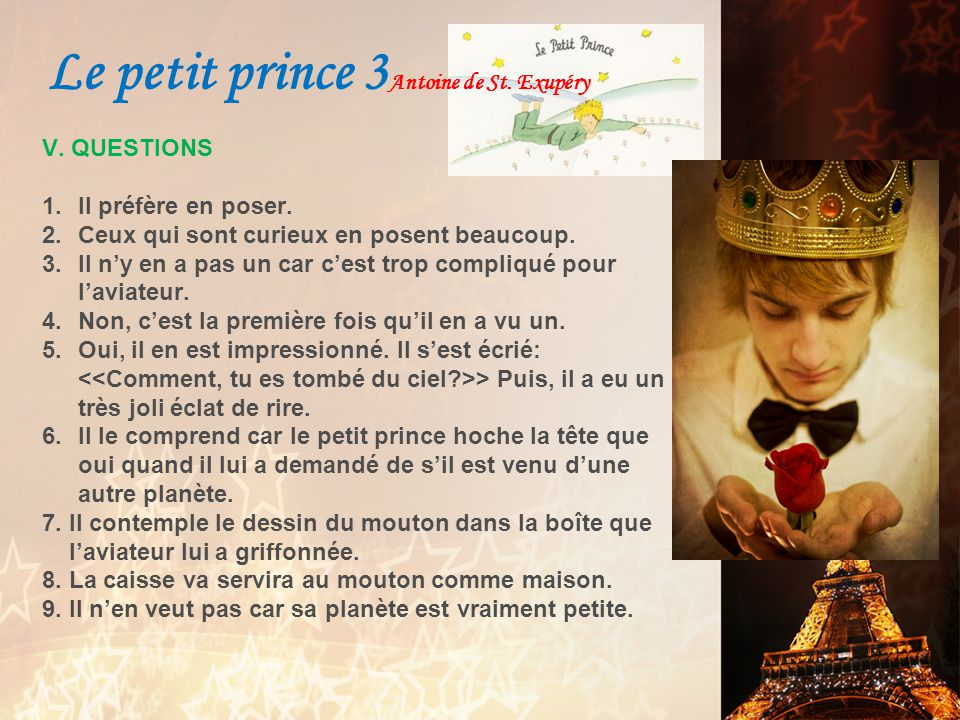 I. VOCABULAIRE 1.Léclat de rire du petit prince a irrité lauteur.