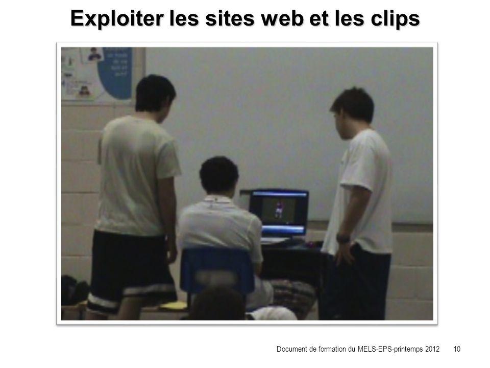Exploiter les sites web et les clips Document de formation du MELS-EPS-printemps 2012 10
