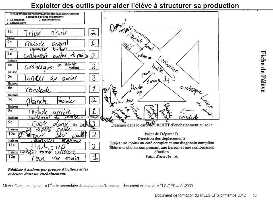 Exploiter des outils pour aider lélève à structurer sa production Michel Carle, enseignant à lÉcole secondaire Jean-Jacques-Rousseau, document de trav