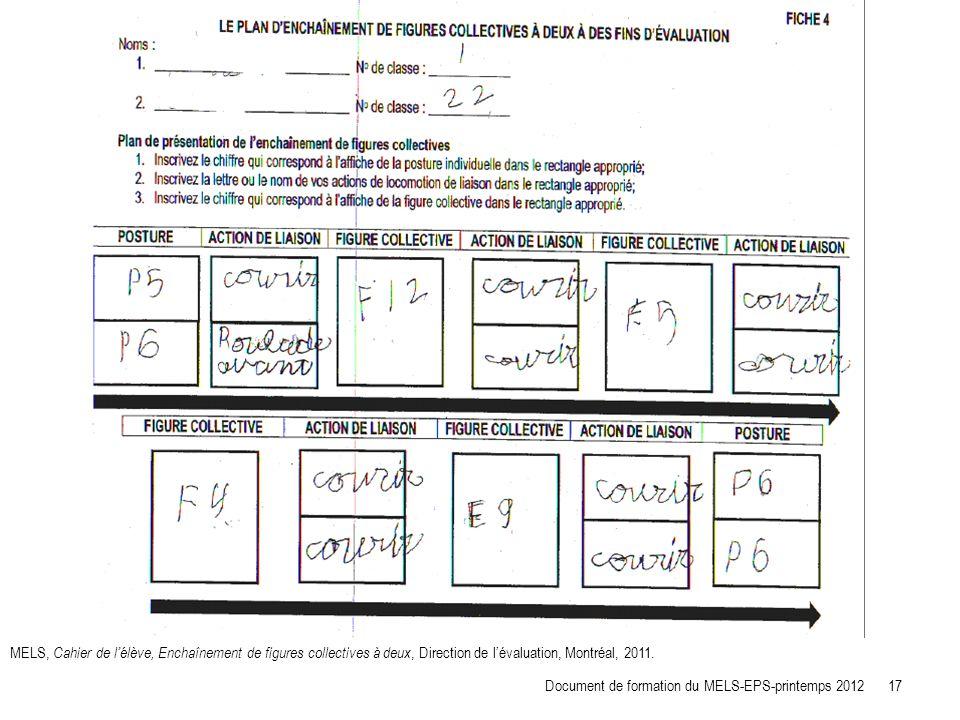 MELS, Cahier de lélève, Enchaînement de figures collectives à deux, Direction de lévaluation, Montréal, 2011. Document de formation du MELS-EPS-printe