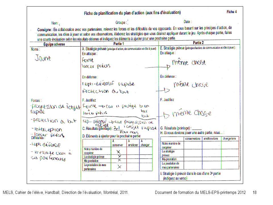 MELS, Cahier de lélève, Handball, Direction de lévaluation, Montréal, 2011.Document de formation du MELS-EPS-printemps 2012 18
