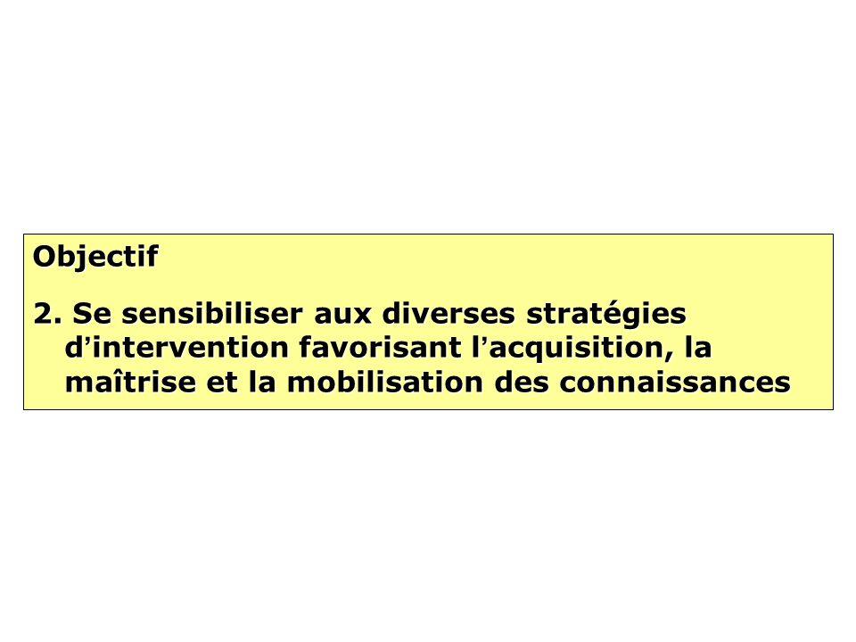 Objectif 2. Se sensibiliser aux diverses stratégies d intervention favorisant l acquisition, la maîtrise et la mobilisation des connaissances