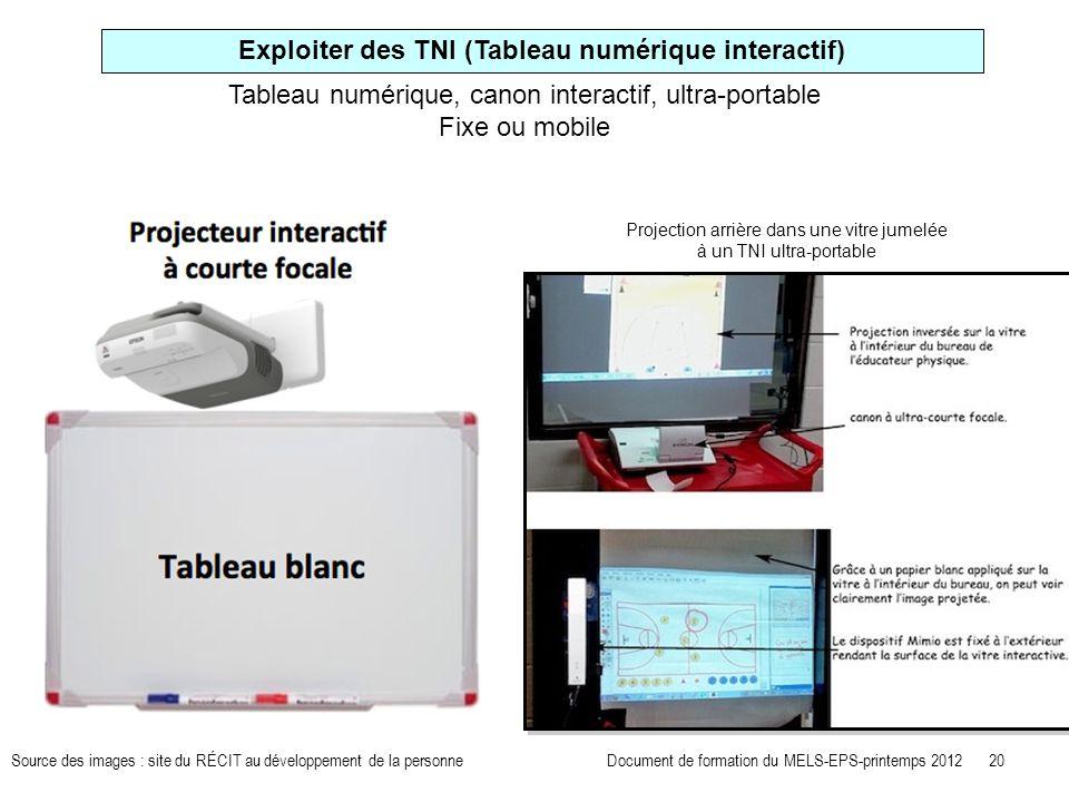 Exploiter des TNI (Tableau numérique interactif) Tableau numérique, canon interactif, ultra-portable Fixe ou mobile Projection arrière dans une vitre