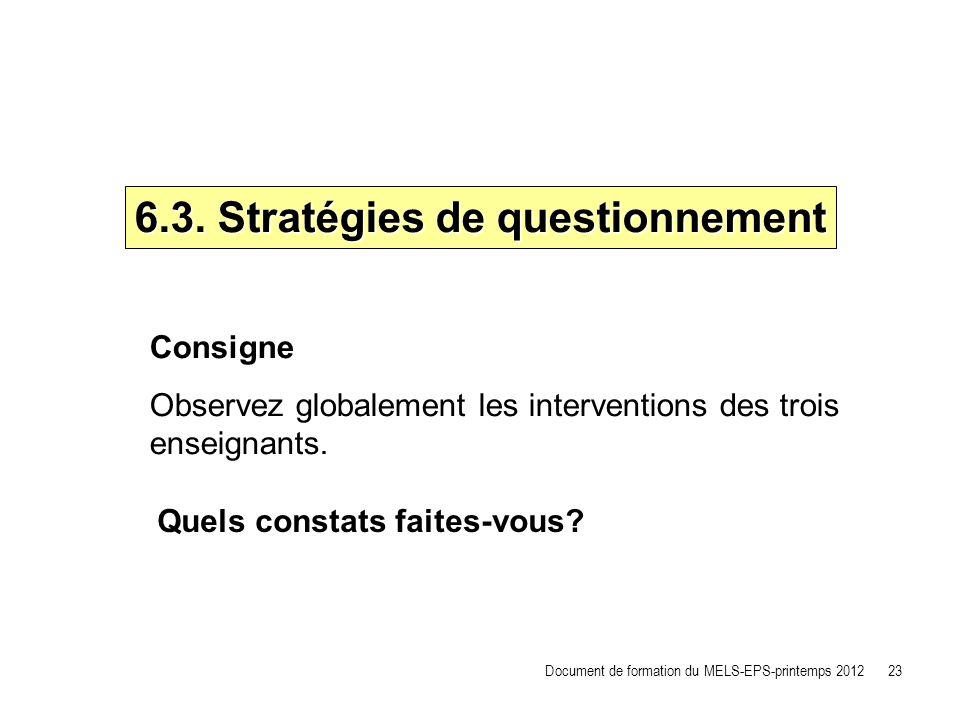 6.3. Stratégies de questionnement Document de formation du MELS-EPS-printemps 2012 23 Consigne Observez globalement les interventions des trois enseig