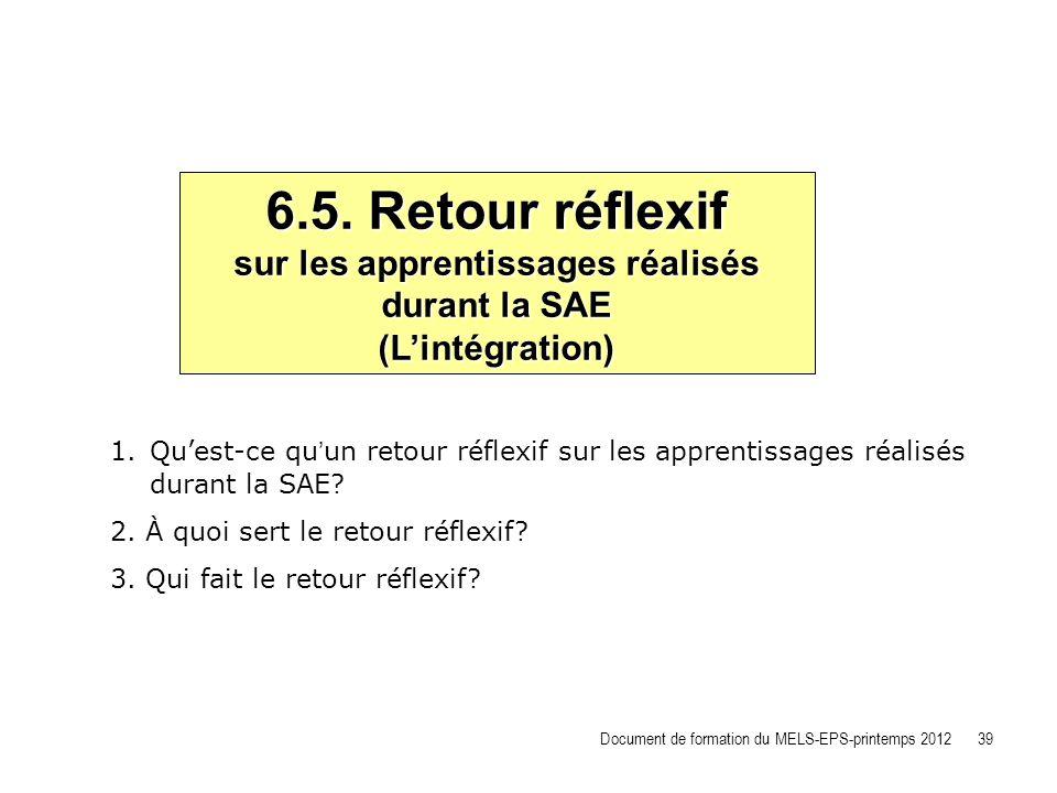 6.5. Retour réflexif sur les apprentissages réalisés durant la SAE (Lintégration) 1.Quest-ce quun retour réflexif sur les apprentissages réalisés dura