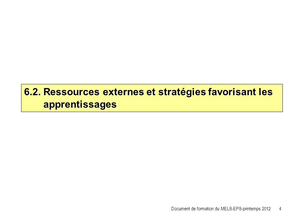 6.2. Ressources externes et stratégies favorisant les apprentissages apprentissages Document de formation du MELS-EPS-printemps 2012 4