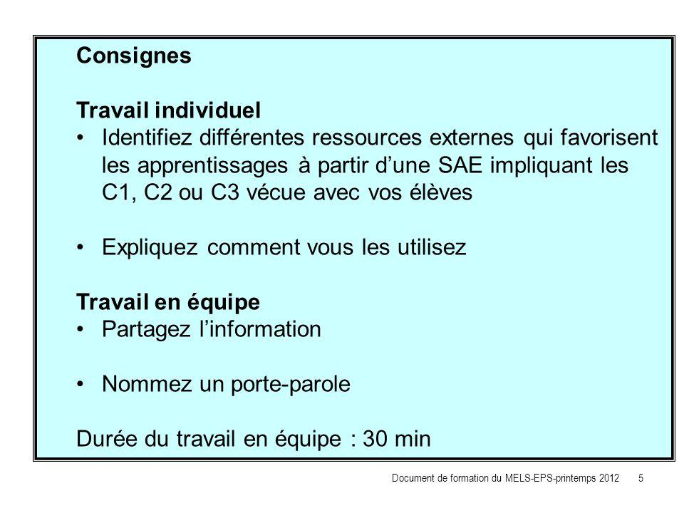 Consignes Travail individuel Identifiez différentes ressources externes qui favorisent les apprentissages à partir dune SAE impliquant les C1, C2 ou C