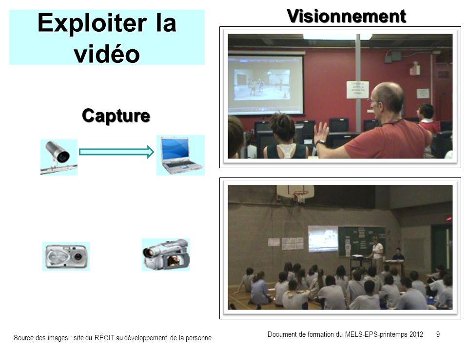 Exploiter la vidéo Visionnement Capture Source des images : site du RÉCIT au développement de la personne Document de formation du MELS-EPS-printemps