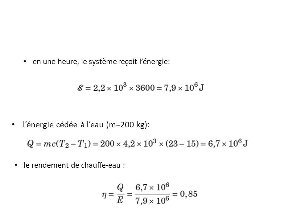 lénergie cédée à leau (m=200 kg): en une heure, le système reçoit lénergie: le rendement de chauffe-eau :