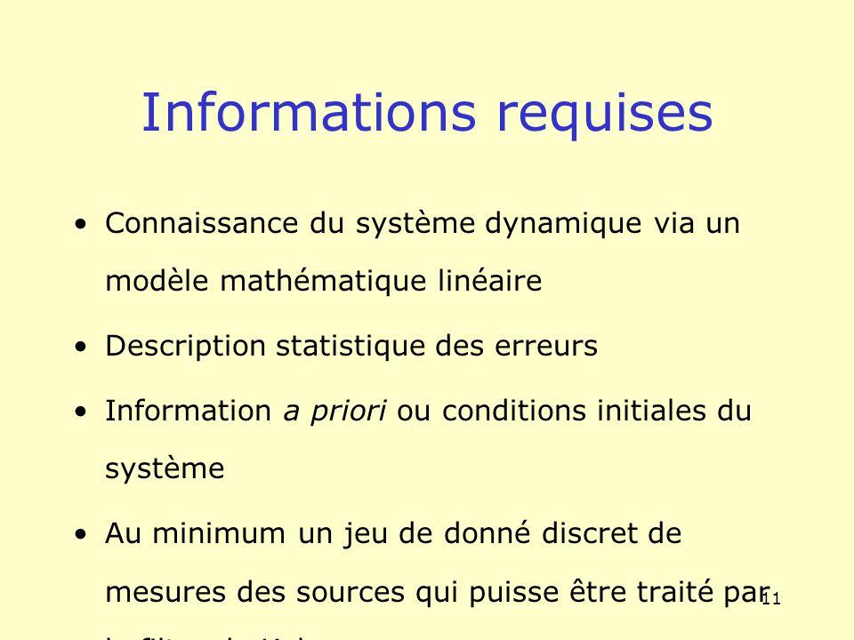 11 Informations requises Connaissance du système dynamique via un modèle mathématique linéaire Description statistique des erreurs Information a prior