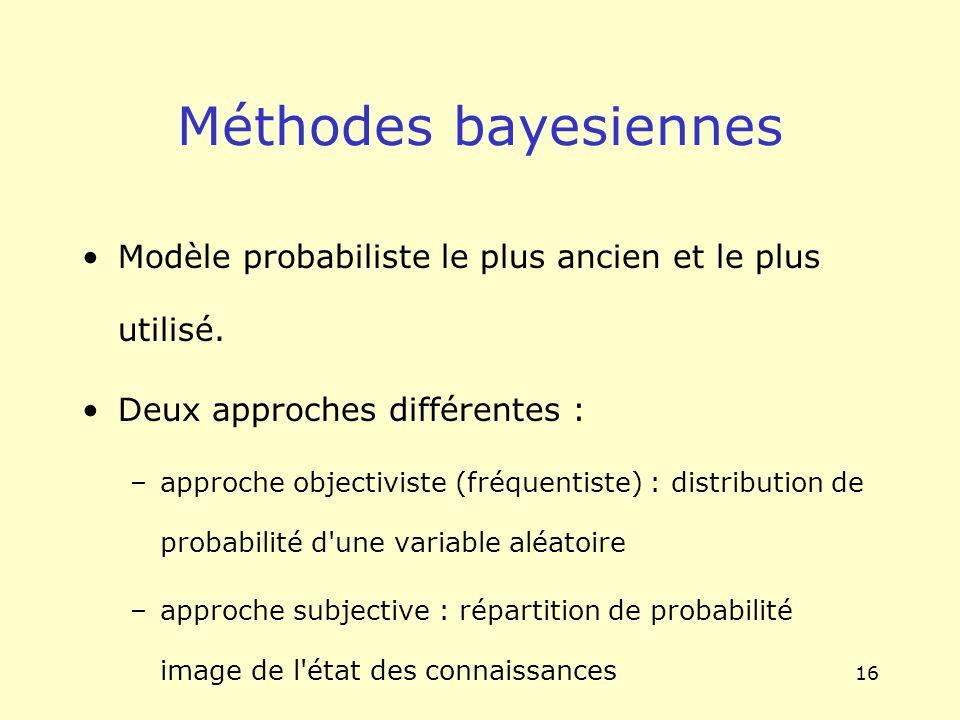 16 Méthodes bayesiennes Modèle probabiliste le plus ancien et le plus utilisé. Deux approches différentes : –approche objectiviste (fréquentiste) : di