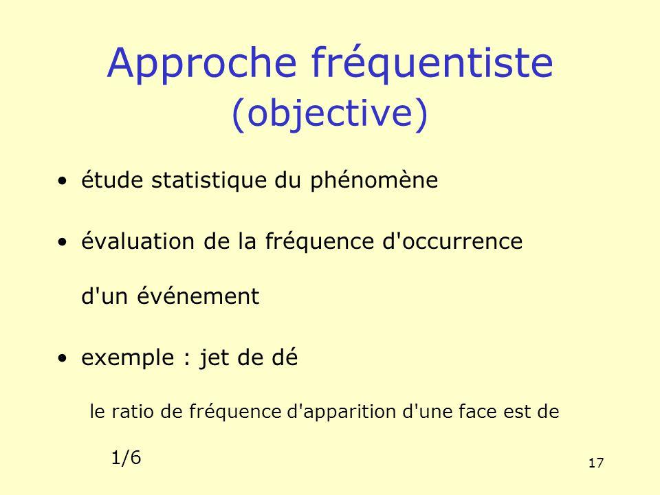 17 Approche fréquentiste (objective) étude statistique du phénomène évaluation de la fréquence d'occurrence d'un événement exemple : jet de dé le rati