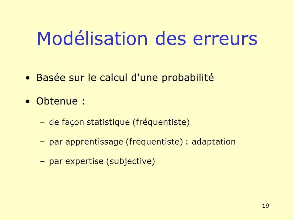 19 Modélisation des erreurs Basée sur le calcul d'une probabilité Obtenue : –de façon statistique (fréquentiste) –par apprentissage (fréquentiste) : a