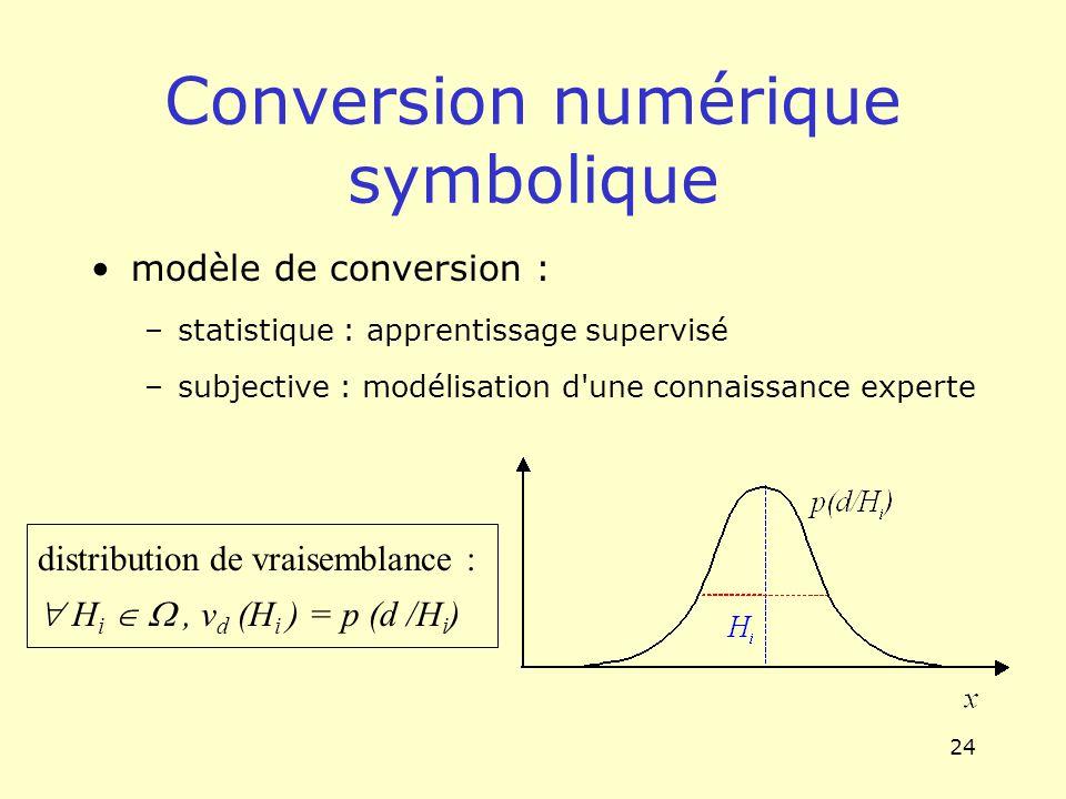 24 Conversion numérique symbolique modèle de conversion : –statistique : apprentissage supervisé –subjective : modélisation d'une connaissance experte