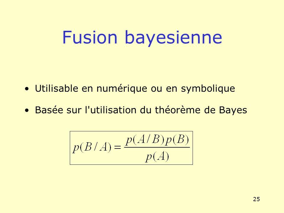 25 Fusion bayesienne Utilisable en numérique ou en symbolique Basée sur l'utilisation du théorème de Bayes