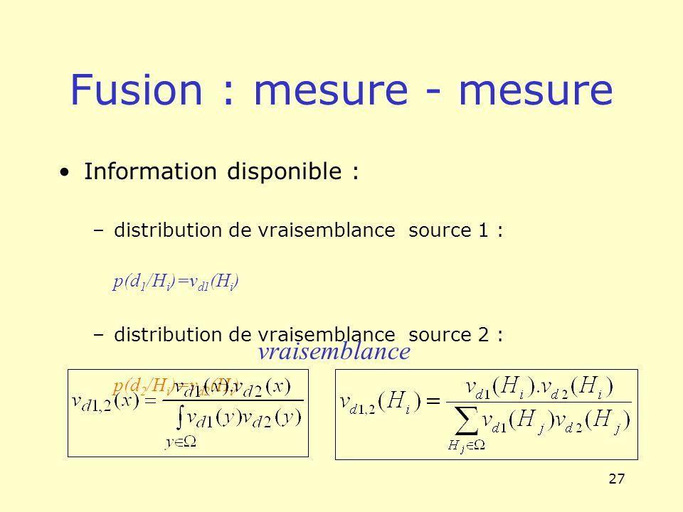 27 Fusion : mesure - mesure Information disponible : –distribution de vraisemblance source 1 : p(d 1 /H i )=v d1 (H i ) –distribution de vraisemblance