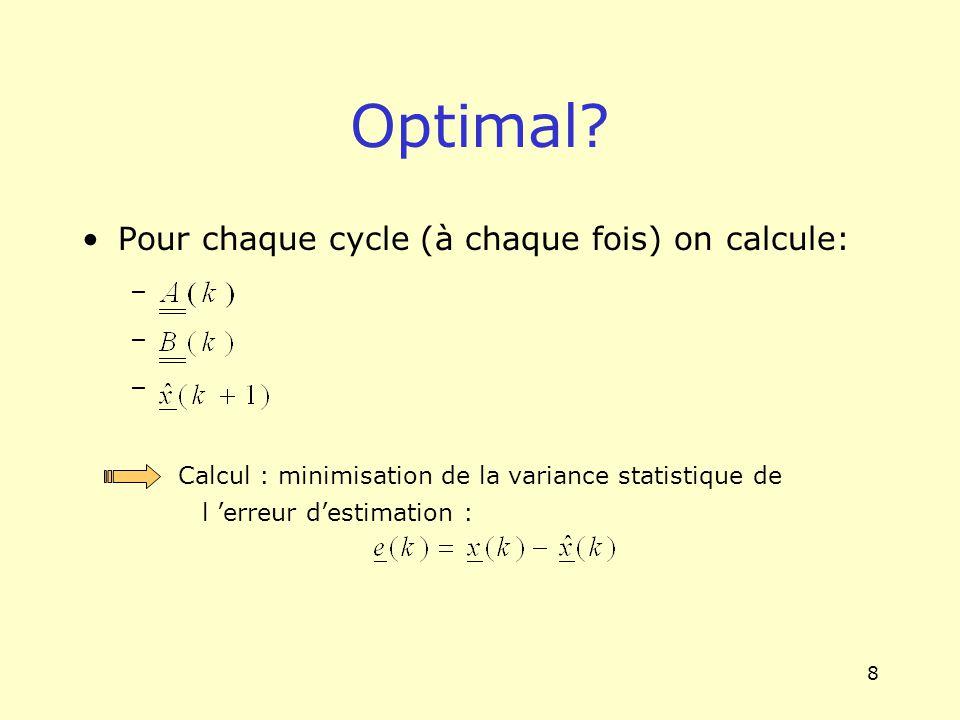 8 Optimal? Pour chaque cycle (à chaque fois) on calcule: – Calcul : minimisation de la variance statistique de l erreur destimation :