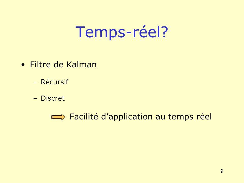 9 Filtre de Kalman –Récursif –Discret Facilité dapplication au temps réel Temps-réel?