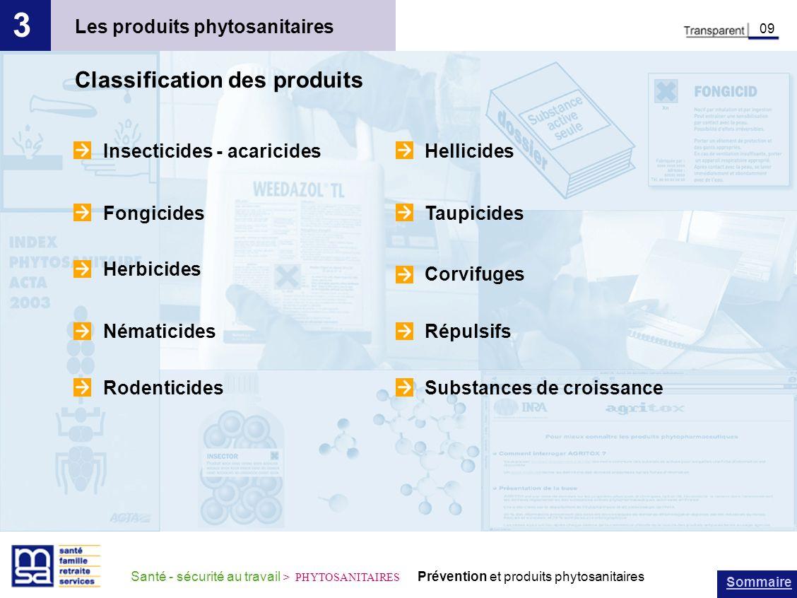 Sommaire Santé - sécurité au travail > PHYTOSANITAIRES Prévention et produits phytosanitaires Les produits phytosanitaires 3 09 Classification des pro