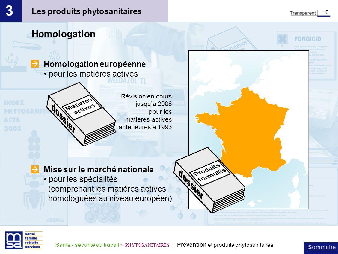 Sommaire Santé - sécurité au travail > PHYTOSANITAIRES Prévention et produits phytosanitaires Homologation européenne pour les matières actives Les pr