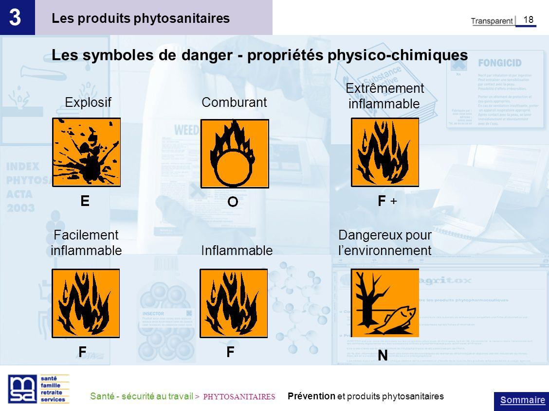 Sommaire Santé - sécurité au travail > PHYTOSANITAIRES Prévention et produits phytosanitaires Les produits phytosanitaires 3 18 Les symboles de danger
