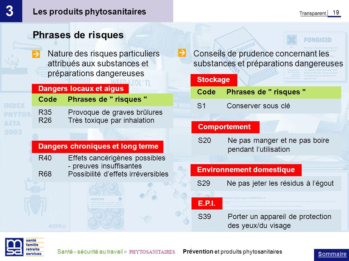 Sommaire Santé - sécurité au travail > PHYTOSANITAIRES Prévention et produits phytosanitaires Les produits phytosanitaires 3 19 Phrases de risques Dan