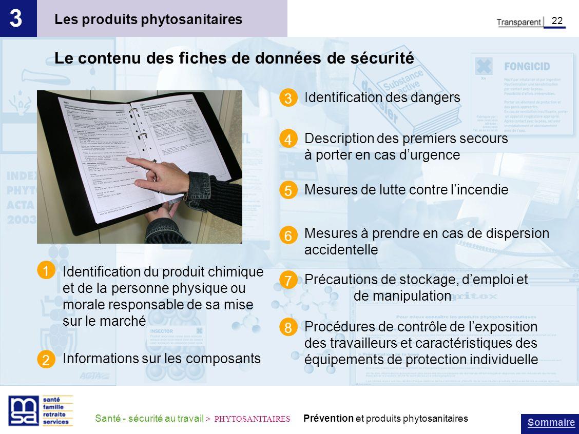 Sommaire Santé - sécurité au travail > PHYTOSANITAIRES Prévention et produits phytosanitaires Les produits phytosanitaires 3 22 Le contenu des fiches
