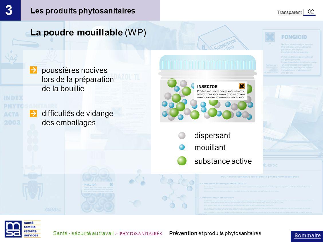 Sommaire Santé - sécurité au travail > PHYTOSANITAIRES Prévention et produits phytosanitaires Les produits phytosanitaires 3 02 La poudre mouillable (