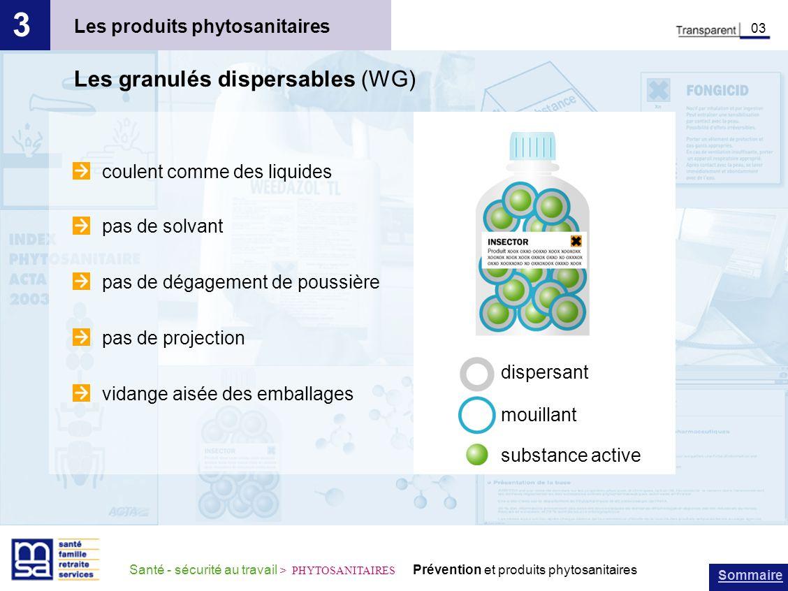 Sommaire Santé - sécurité au travail > PHYTOSANITAIRES Prévention et produits phytosanitaires Les produits phytosanitaires 3 03 Les granulés dispersab