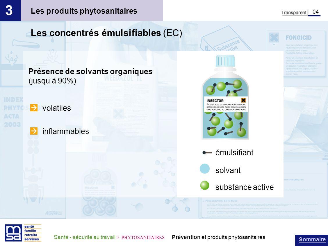 Sommaire Santé - sécurité au travail > PHYTOSANITAIRES Prévention et produits phytosanitaires Les produits phytosanitaires 3 04 Les concentrés émulsif