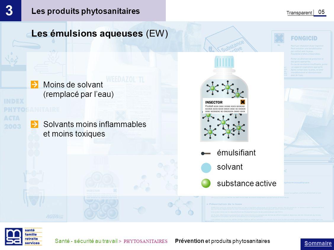 Sommaire Santé - sécurité au travail > PHYTOSANITAIRES Prévention et produits phytosanitaires Les produits phytosanitaires 3 05 Les émulsions aqueuses