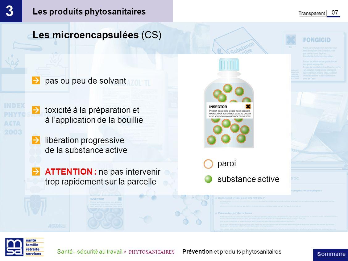 Sommaire Santé - sécurité au travail > PHYTOSANITAIRES Prévention et produits phytosanitaires Les produits phytosanitaires 3 07 Les microencapsulées (