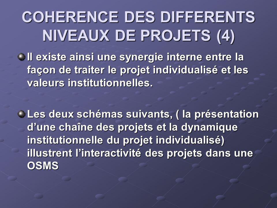 COHERENCE DES DIFFERENTS NIVEAUX DE PROJETS (4) Il existe ainsi une synergie interne entre la façon de traiter le projet individualisé et les valeurs institutionnelles.