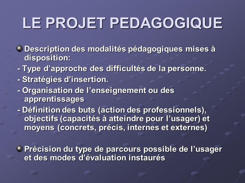LE PROJET PEDAGOGIQUE Description des modalités pédagogiques mises à disposition: - Type dapproche des difficultés de la personne.