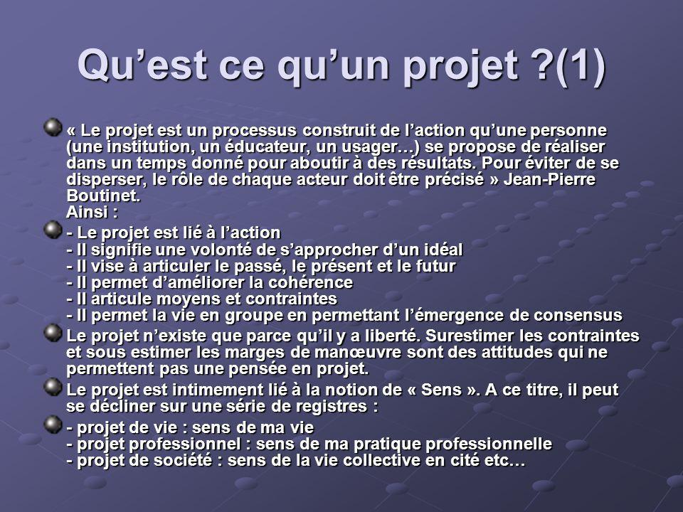 Quest ce quun projet (1) « Le projet est un processus construit de laction quune personne (une institution, un éducateur, un usager…) se propose de réaliser dans un temps donné pour aboutir à des résultats.