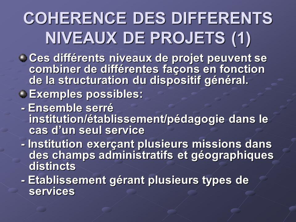 COHERENCE DES DIFFERENTS NIVEAUX DE PROJETS (1) Ces différents niveaux de projet peuvent se combiner de différentes façons en fonction de la structuration du dispositif général.