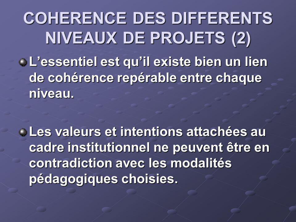 COHERENCE DES DIFFERENTS NIVEAUX DE PROJETS (2) Lessentiel est quil existe bien un lien de cohérence repérable entre chaque niveau.