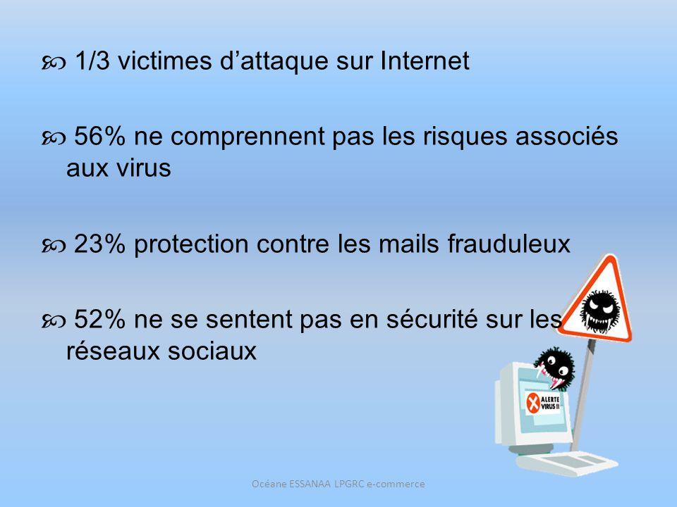 1/3 victimes dattaque sur Internet 56% ne comprennent pas les risques associés aux virus 23% protection contre les mails frauduleux 52% ne se sentent