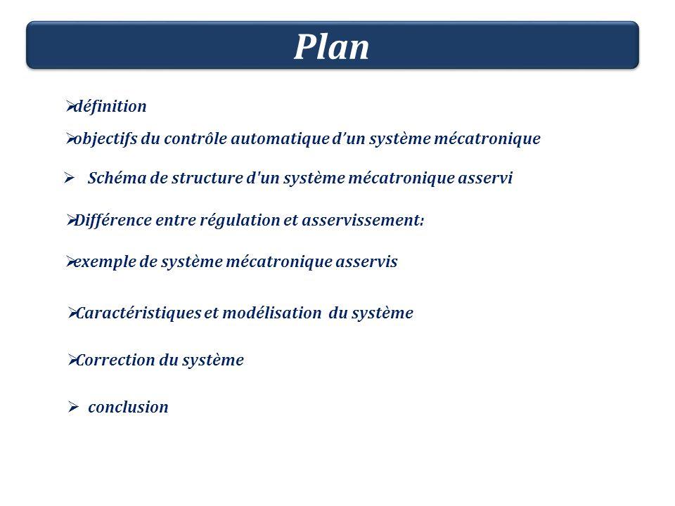 définition objectifs du contrôle automatique dun système mécatronique Schéma de structure d'un système mécatronique asservi Différence entre régulatio