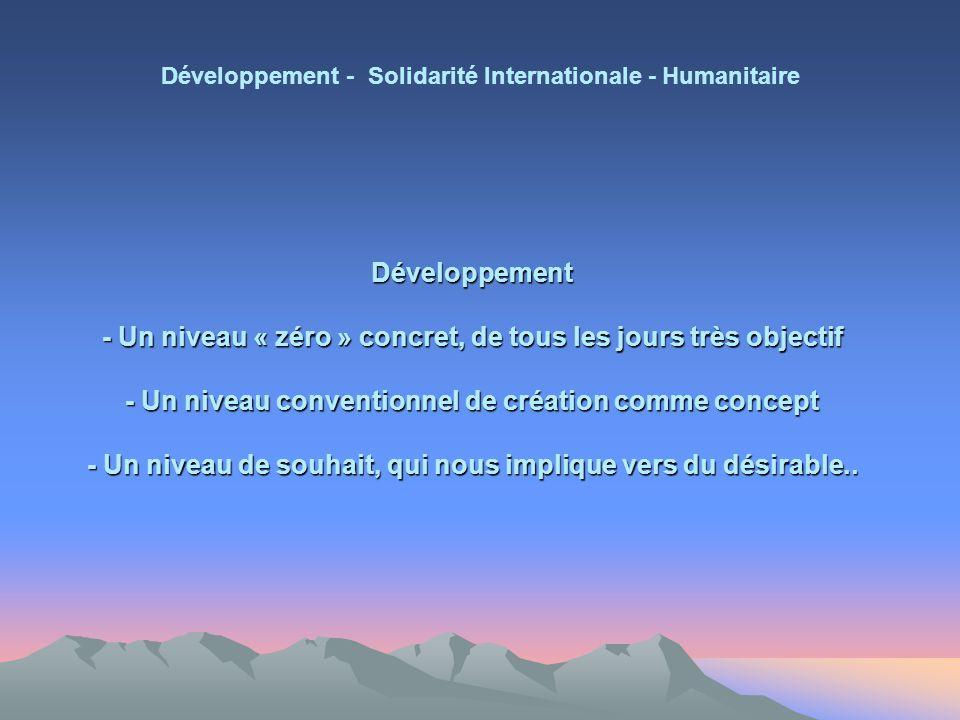 Développement - Un niveau « zéro » concret, de tous les jours très objectif - Un niveau conventionnel de création comme concept - Un niveau de souhait, qui nous implique vers du désirable..