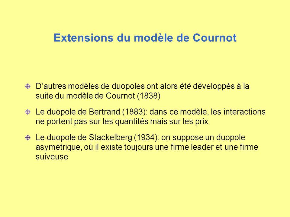 Extensions du modèle de Cournot Dautres modèles de duopoles ont alors été développés à la suite du modèle de Cournot (1838) Le duopole de Bertrand (18