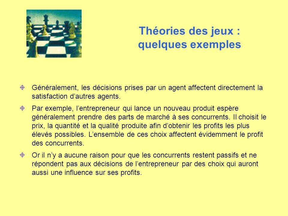 Théories des jeux : quelques exemples Généralement, les décisions prises par un agent affectent directement la satisfaction dautres agents. Par exempl