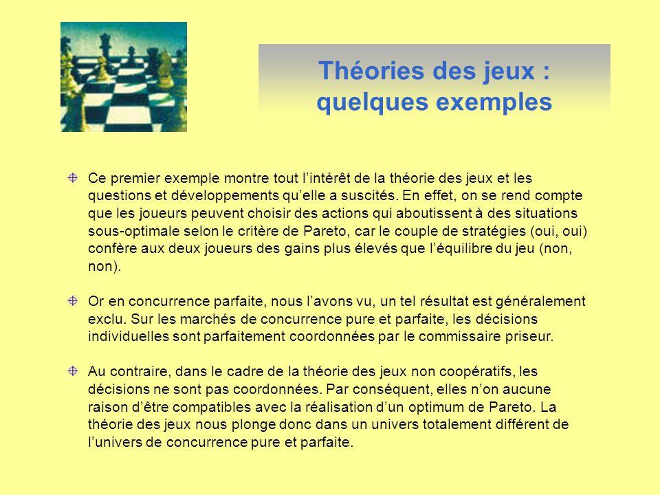 Ce premier exemple montre tout lintérêt de la théorie des jeux et les questions et développements quelle a suscités. En effet, on se rend compte que l