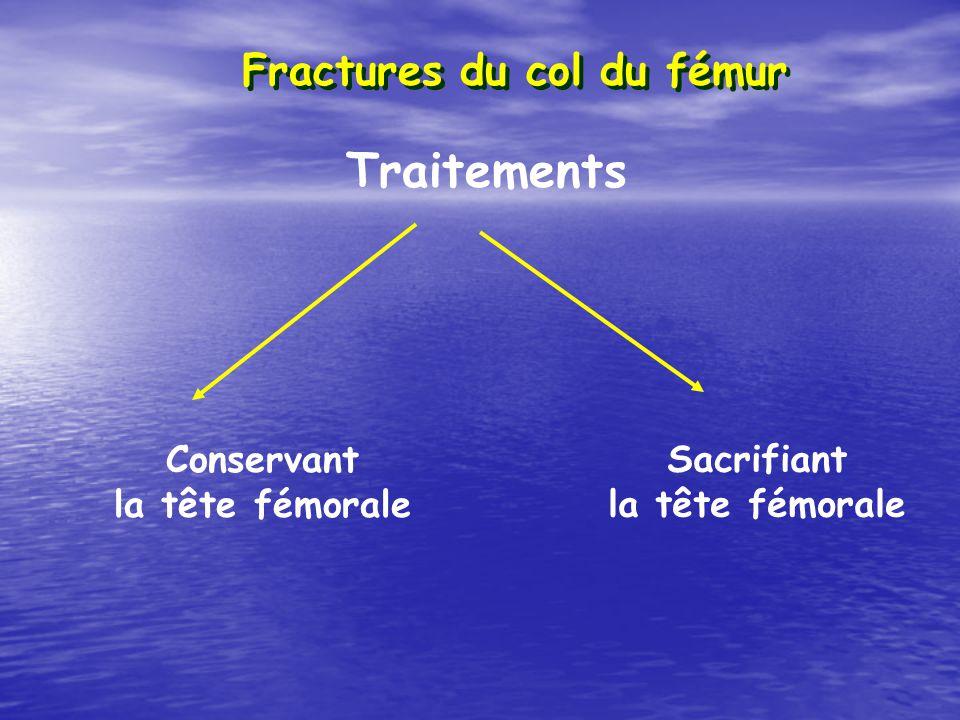 Fractures du col du fémur Traitements Conservant la tête fémorale Sacrifiant la tête fémorale