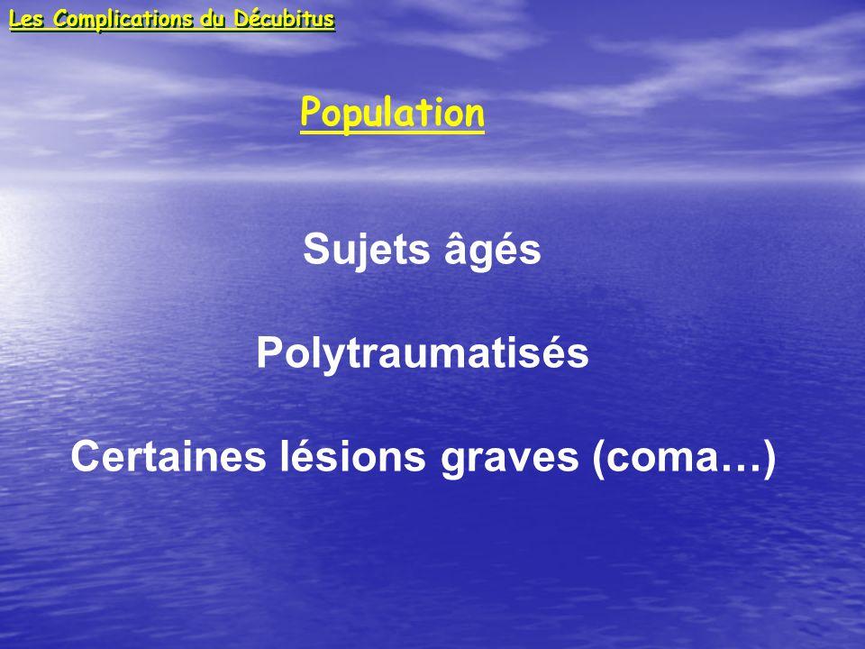 Population Sujets âgés Polytraumatisés Certaines lésions graves (coma…) Les Complications du Décubitus