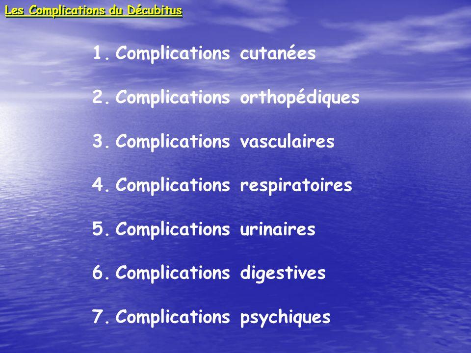 1.Complications cutanées 2.Complications orthopédiques 3.Complications vasculaires 4.Complications respiratoires 5.Complications urinaires 6.Complicat