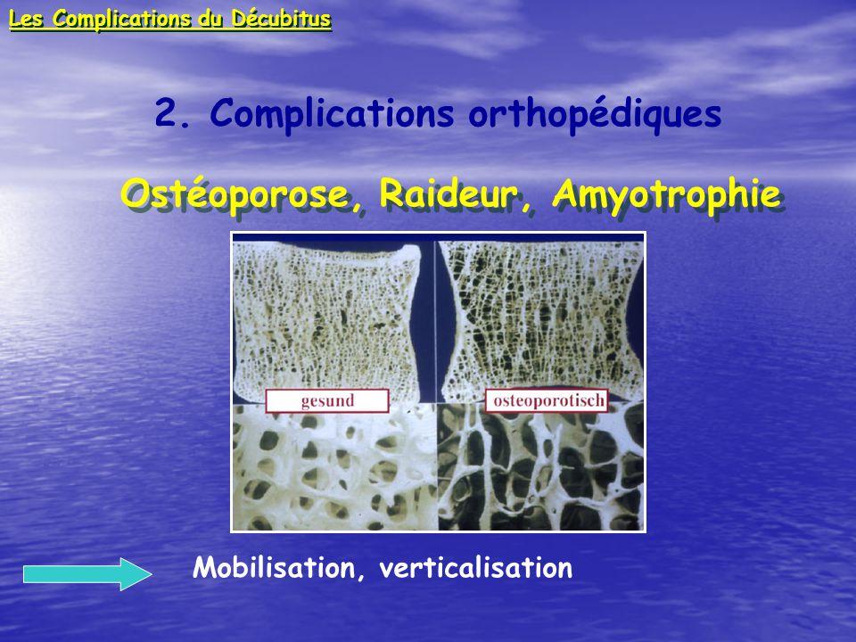 2. Complications orthopédiques Ostéoporose, Raideur, Amyotrophie Ostéoporose, Raideur, Amyotrophie Mobilisation, verticalisation Les Complications du