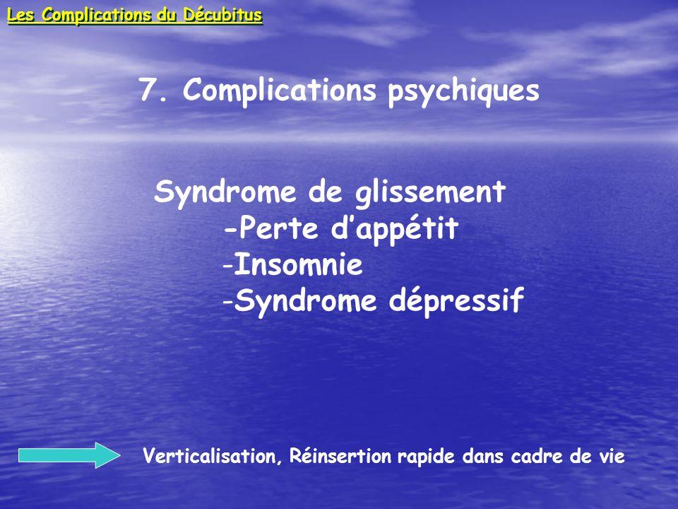 7. Complications psychiques Syndrome de glissement -Perte dappétit -Insomnie -Syndrome dépressif Verticalisation, Réinsertion rapide dans cadre de vie