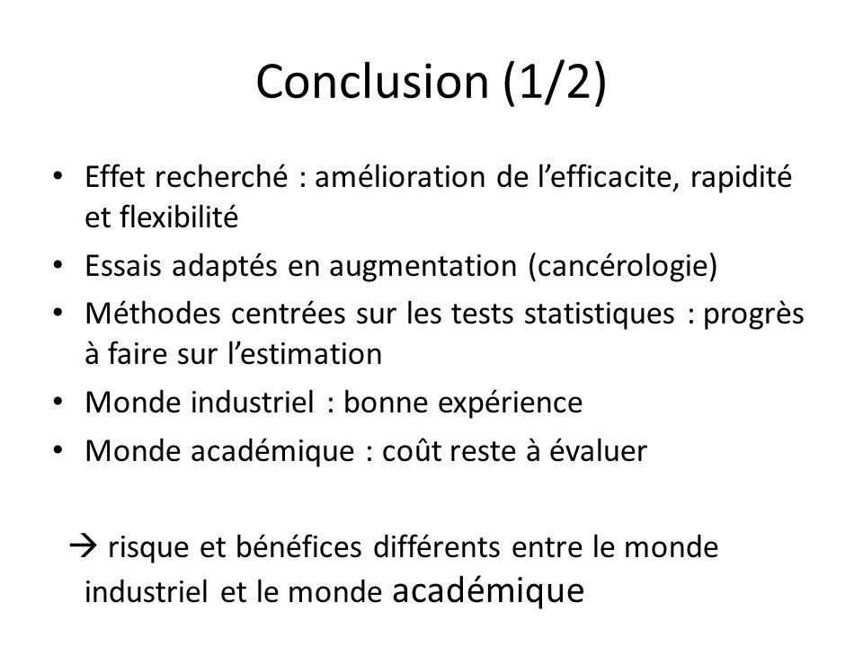 Conclusion (1/2) Effet recherché : amélioration de lefficacite, rapidité et flexibilité Essais adaptés en augmentation (cancérologie) Méthodes centrée