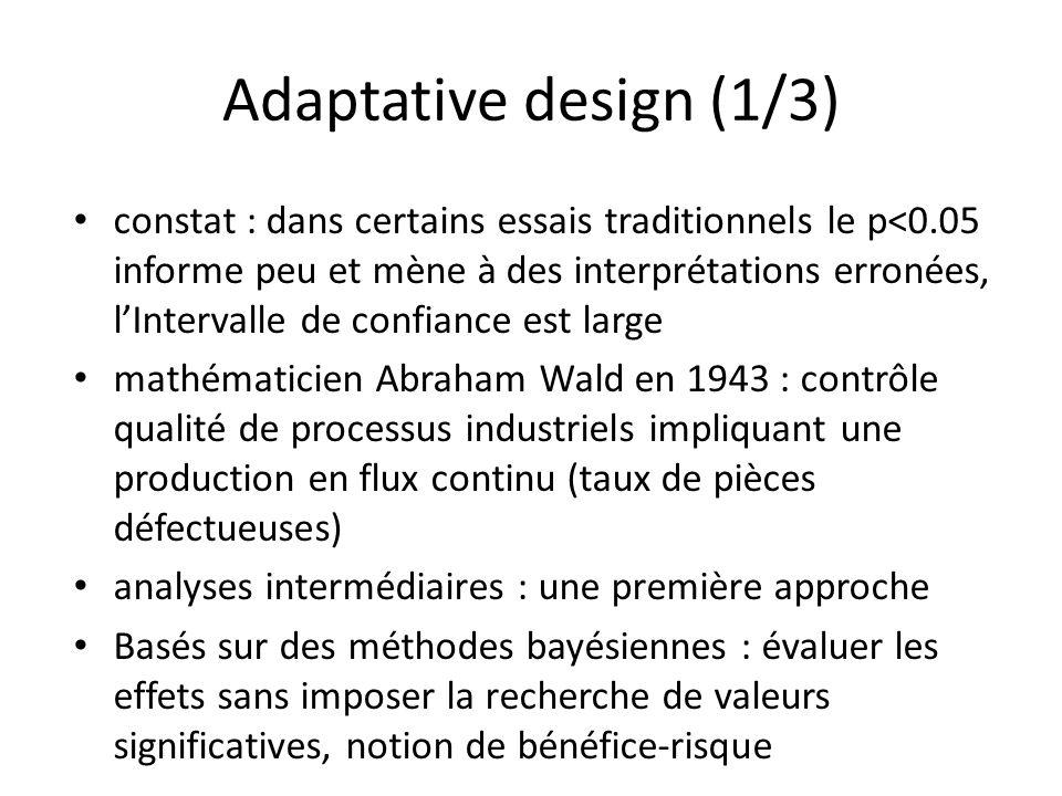 Adaptative design (1/3) constat : dans certains essais traditionnels le p<0.05 informe peu et mène à des interprétations erronées, lIntervalle de conf